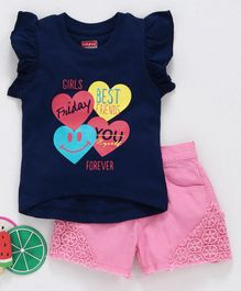 Babyhug Flutter Sleeves Top & Denim Shorts Heart Graphics - Navy Blue & Pink