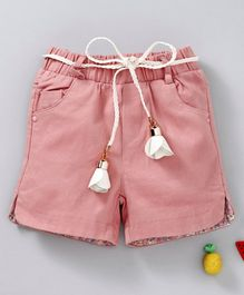 TBB Elastic Waist Shorts With Belt - Pink