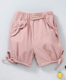 TBB Elastic Waist Shorts Side Tie Up Pattern - Peach