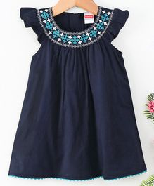 Babyhug Cap Sleeves Woven Embroidered Frock - Navy Blue