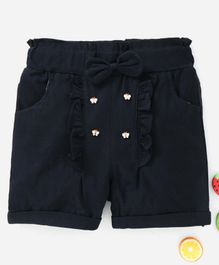 TBB Elastic Waist Shorts Bow Motif & Studded Butterfly Detail - Black