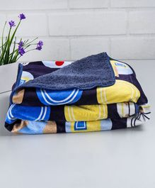 Babyhug Sherin & Poly Wool Blanket Car Print - Navy Blue