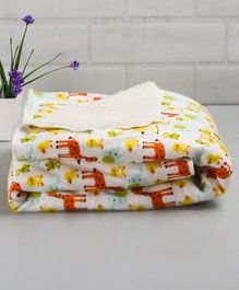 Babyhug Sherin & Poly Wool Blanket Animal Print - Multicolour