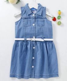 Chicklets Solid Sleeveless Collar Dress With Belt - Light Blue