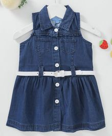 Chicklets Solid Sleeveless Collar Dress With Belt - Dark Blue