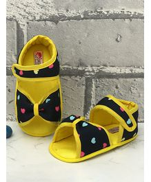 D'Chica Heart Print Booties - Yellow