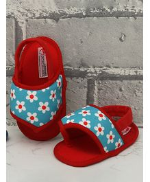 D'Chica Flower Print Contrast Strap Booties - Red