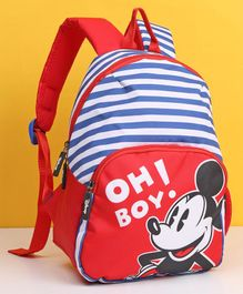Disney Mickey Mouse And Friends Striped Kids Bag Red Blue - 12 Inches