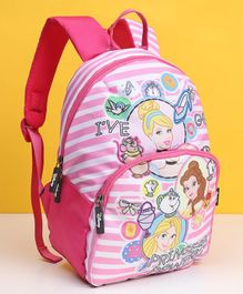 Disney Princess Striped School Bag Pink White - 12 inches