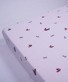 Little Storks Sailing Boats Organic Fitted Cot Sheet - Purple