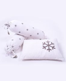 Little Storks Organic Baby Bolsters and Pillow Set of 3 - White