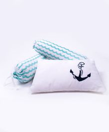Little Storks Sailing Boats Organic Bedtime Bolster and Pillow Set - Blue