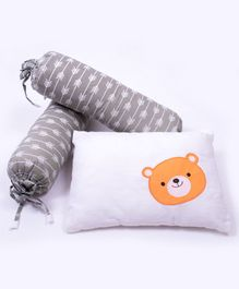 Little Storks Sailing Boats Organic Bedtime Bolster and Pillow Set - Grey