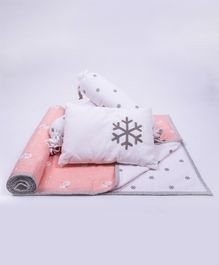 Little Storks Snowy Snowman Organic Mini Cot Bedding Set - Pink White