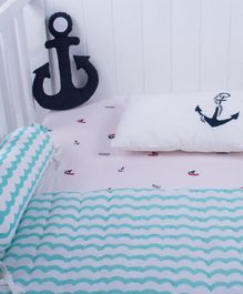 Little Storks Snowy Snowman Organic Bedding Set Blue - Set of 5