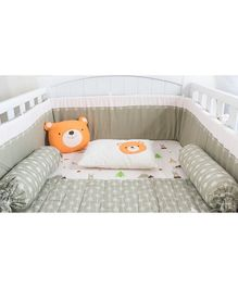Little Storks Snowy Snowman Organic Bedding Set Grey Orange - Set of 5