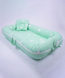 Little Storks Organic Dreamy Stars Baby Boat With Pillow - Mint Green