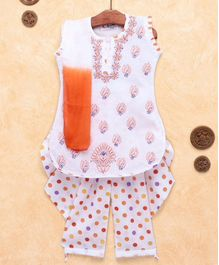 M'Andy Sleeveless Kurta & Dot Print Patiala Set With Dupatta - White & Orange