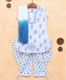 M'Andy Floral Chickenkari Work Sleeveless Kurta & Patiala With Dupatta Set - White & Blue