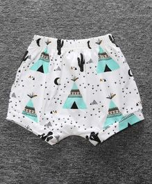 Little Palz Camping Theme Print Shorts - Sea Green & White