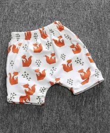Little Palz Big Fox Print Elasticated Shorts - Brown & White