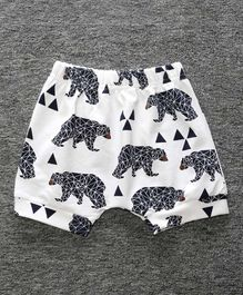 Little Palz Bear Print Shorts - White & Black