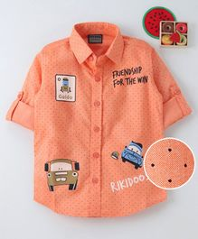 Rikidoos Full Sleeves Polka Dot & Vehicle Print Shirt - Peach