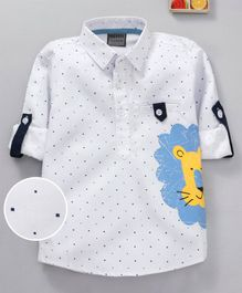 Rikidoos Full Sleeves Polka Dot & Lion Print Shirt - White