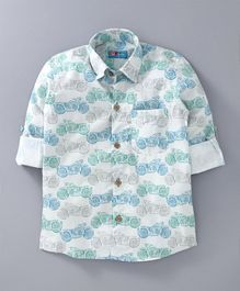 Kid Studio Vintage Motorbikes Print Full Sleeve Shirt With Front Pocket - White