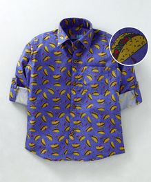 Kid Studio Tacos Printed Full Sleeves Shirt - Blue