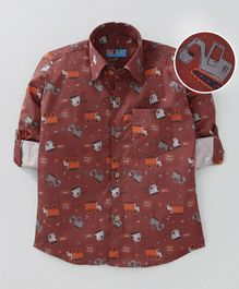 Kid Studio Trucks Printed Full Sleeve Shirt With Front Pocket - Maroon