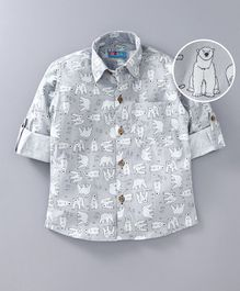 Kid Studio Polar Bear Print Full Sleeves Shirt With Front Pocket - Grey
