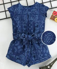 ad90ab93d03a ToffyHouse Short Sleeves Jumpsuit Allover Print - Blue