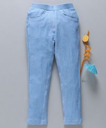 Babyhug Full Length Solid Jeggings - Ice Blue