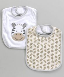 Owen Bibs With Zebra Patch & Floral Print Pack of 2 (Colour and Print may vary)