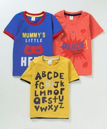 Mini Donuts Half Sleeves Tees Text Print Pack of 3 -  Blue Orange Yellow
