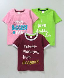 Mini Donuts Half Sleeves Tees Text Print Pack of 3 -  Red Pink Green