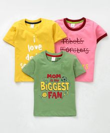 Mini Donuts Half Sleeves Tees Text Print Pack of 3 - Pink Yellow Green