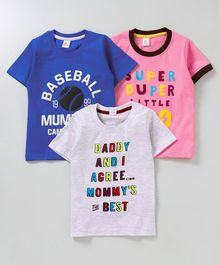 Mini Donuts Half Sleeves Tees Text Print Pack of 3 - Blue Pink White
