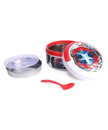 Avenger Themed Insulated Round Lunch Box With Spoon - White Red