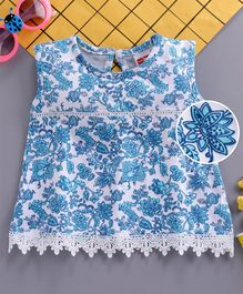 Babyhug Sleeveless Top With Lace Detailing Floral Print -  Blue White