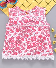 Babyhug Sleeveless Top With Lace Detailing Floral Print - Pink White