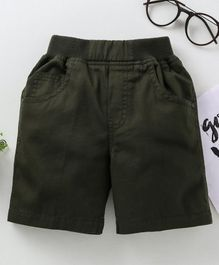 Jash Kids Solid Shorts - Olive Green