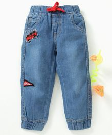 Babyhug Full Length Denim Jogger With Patch Work - Light Blue