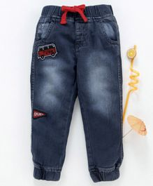 Babyhug Full Length Denim Joggers with Patches - Charcoal