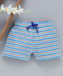 Babyhug Mid Thigh Striped Shorts - Blue