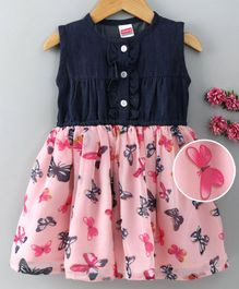 fa1fdbabbd2 Babyhug Sleeveless Frock Butterfly Print - Navy Blue   Pink