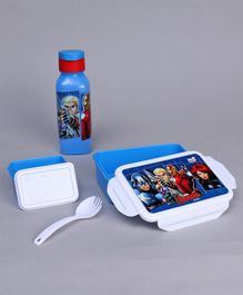 Marvel Avengers Lock And Seal Combo Of Lunch Box and Water Bottle - Blue