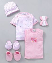 Montaly Clothing Gift Set Animal Print Pack of 9 -  Pink White