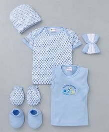Montaly Clothing Gift Set Animal Print Pack of 9 -  Blue White